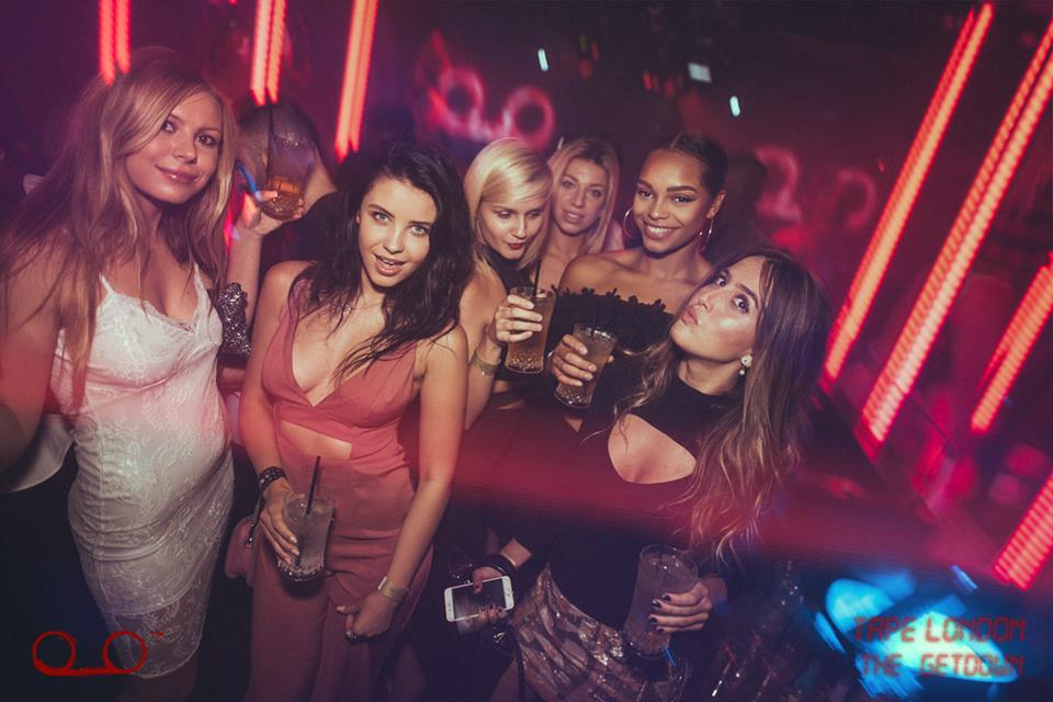 girls drinks and posing in tape london guestlist