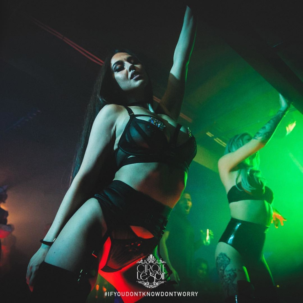 sexy girl posing hot at cirque le soir